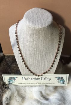 Necklace,Handmade,Copper Chain,Beaded By Hand,Simple,Statement Necklace,Glass Beading,Gift Idea,FREE Gift Wrapping,SHIPS from California - pinned by pin4etsy.com