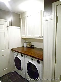 Put a sturdy piece of wood above front loaders for clean laundry space