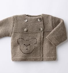 Double-breasted bear sweater