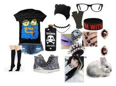 """""""emo pb"""" by katpuppies ❤ liked on Polyvore featuring 3x1, Henri Bendel, Converse, Funk Plus, Ray-Ban and ASOS"""