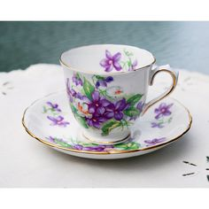Tuscan Violets Demitasse and Saucer English Fine Bone China ($23) ❤ liked on Polyvore featuring home, kitchen & dining and bone china