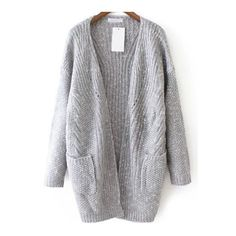 SheIn(sheinside) Grey Casual Pockets Loose Knit Cardigan (44 CAD) ❤ liked on Polyvore featuring tops, cardigans, grey, embellished tops, long sleeve knit cardigan, cocoon cardigan, gray cable knit cardigan and cable knit cardigan
