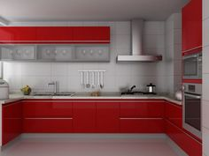 Modern Modular High Red Glossly Kitchen Cabinet(Lacquer)