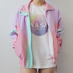 New limited itme- pasetl color block koko lavender bomber jacket korean sty Harajuku Fashion, Kawaii Fashion, Cute Fashion, Fashion Styles, Harajuku Girls, Pastel Outfit, Pastel Goth Outfits, Grunge Outfits, Kawaii Clothes