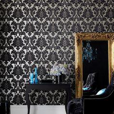 Majestic Damask Wallpaper - Designer Black Wall Coverings by Graham  Brown