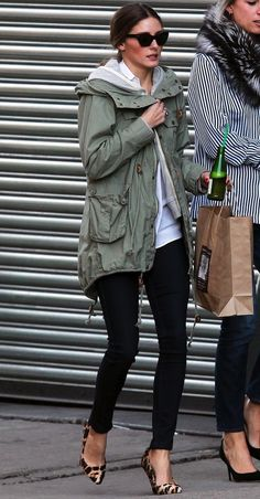 Olive anorak, white polo, black skinnies, leopard pumps. Inspiration Look - LoLoBu