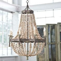 Hampton Scalloped Wood Bead Chandelier