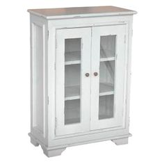 Gray-finished cabinet with two glass doors, knob pulls, and three interior shelves.  Product: CabinetConstruction Ma...