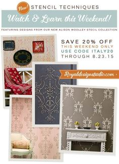 Decorate your home with Italian Stencils! SALE: Save 20% on our Alison Woolley Italian Stencil Collection 8/21/2015-8/23/2015 with code ITALY20!!!