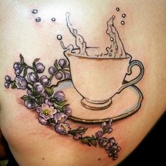 started a #fun shoulder piece for megan... #teacup #tattoo #art #girls #goodtimes #custom #new ...
