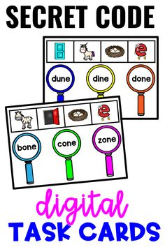"""Secret Code Digital Task Cards with Silent E Words! There are 30 """"crack the code"""" interactive cards with visual clues to solve. Every card is self-checking for on-the-spot feedback. Add these to your centers or display for small and whole groups!"""