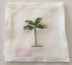 Set of 4 Palm Tree Cocktail Napkins - IN STOCK IN GREENWICH, CT FOR QUICK SHIPPING