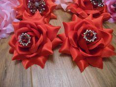 Stunning Pair 2 Red Fabric Rose Vintage rhinestone brooch Hair Clip Fascinator