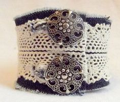 Shabby Fabric Cuff Denim and Crochet Cuff Button Cuff