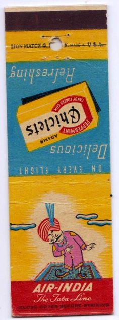 Air India 1955 Co-op Chiclet #matchbook To order your business' own branded #matchbooks call TheMatchGroup 800.605.7331 or goto: www.GetMatches.com Today!