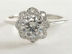 Floral Halo Diamond Engagement Ring in 14k White Gold | #Wedding #Engagement #Ring #Jewelry