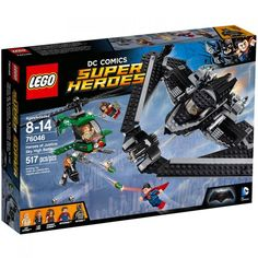 LEGO 76046 Heroes of Justice: Sky High Battle. Pilot the Batwing to rescue Lois from Lex Luthor's helicopter!