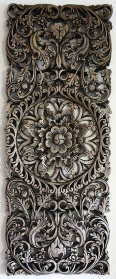 20th Century Teak Wood Hand Carved Panel, Thailand.