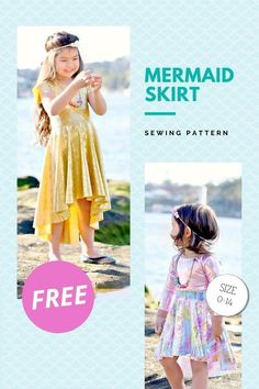 Mermaid Skirt FREE sewing pattern (0-14 sizes). This is the ultimate twirl full circle skater skirt with an off-center waist and a spandex waistband. Besides including the stand-alone skirt the designer has also included a dress skirt. We're super excited by this designer - Boo! Designs. They produce fantastic kid's patterns that we absolutely LOVE! And as they say, because this pattern is FREE - If you haven't tried BOO! patterns before this is a great way to try before you buy! Skirt Sewing, Skirt Patterns Sewing, Sewing Patterns For Kids, Sewing For Kids, Free Sewing, Mermaid Dress For Kids, Mermaid Skirt, Knit Skirt, Dress Skirt