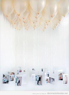 Ideas originales para boda, globo de helio con foto de los novios