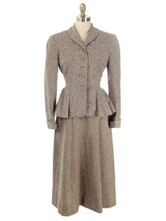 Vintage Ladies Wool Tweed Suit Peplum & A Line Skirt 1940s Medium| For Costume