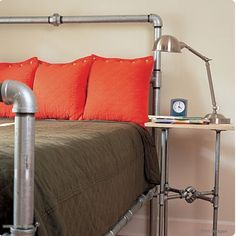 We've had a plumbing pipe bed on our DIY to do list forever now, so, in a weird way, we were disappointed to see that we could just buy this really cool-looking one.