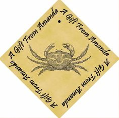 Pack of 12 PERSONALIZED Parchment 6cm Square Gift Tags Crab >>> Read more reviews of the product by visiting the link on the image.