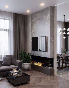 91 comfy living room design ideas with fireplace 5 Home contemporary fireplace Comfy Living Room Design, Contemporary Living Room Design, Large Windows Living Room, Living Room Design Modern, Living Room With Fireplace, Living Room Grey, Long Living Room Design, Living Design, Room Interior