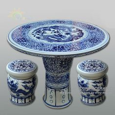 Chinese antique blue and white ceramic porcelain garden table and stool with dragon design