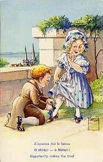carte postale L'occasion fait le larron - Costumes Suisses : Neuchâtel - Signée Minouvis - N, Illustrateurs