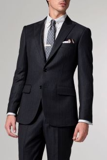 The Speakeasy Charcoal & Brown Striped Suit