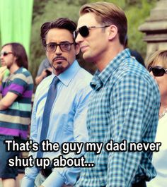 "Tony Stark (Iron Man) and Steve Rogers (Captain America) - ""That's the guy my Dad never shut up about."" That's the guy who you don't appreciate and saved your life, Tony. Marvel Avengers, Marvel Dc Comics, Robert Downey Jr, Robert Jr, Steve Rogers, Tony Stark, Steve And Tony, Otp, Chris Evans Captain America"