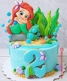 50 Most Beautiful looking Disneys Ariel Cake Design that you can make or get it made on the coming birthday. Little Mermaid Birthday Cake, Toddler Birthday Cakes, Little Mermaid Cakes, Birthday Cake Girls, Birthday Cake Disney, Princess Birthday Cakes, 4th Birthday, Girl Cakes, Baby Cakes