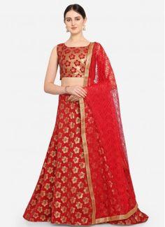 Red Jacquard Weaving Designer Lehenga Choli Banarasi Lehenga, Ghagra Choli, Saree, Red Fabric, How To Dye Fabric, Bridal Lehenga Online, Designer Collection, Red Color, Party Wear
