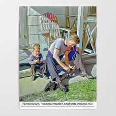 Father & Son, Housing Project, Radford, Virginia 1941 Poster Radford Virginia, Colorized History, Meet The Artist, Diy Frame, Father And Son, Home Projects, Baby Strollers, Sons, Children