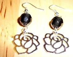 Metal Rose Earrings with Dark Navy Blue Glass by BlissfulVine, $15.00