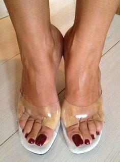 my long toenails High Heel Mule Shoes, Mules Shoes, High Heels, Pretty Heels, Gorgeous Heels, Feet Soles, Women's Feet, Long Toenails, Online Shopping Shoes