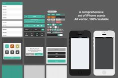Flat iOS UI Kit with 2 flat iPhones by ODDS & ENDS on @creativemarket