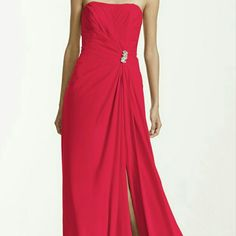 Long Petite Red Strapless Dress With Split