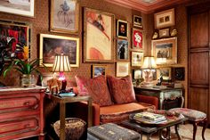 His and Hers - The poster above the sofa bed is an early Toulouse-Lautrec. - The New York Times Small Space Living, Living Room Modern, Home Living Room, Small Spaces, Living Spaces, English Interior, Red Rooms, Interior Decorating, Interior Design