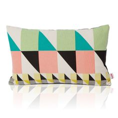 Gullfuglen - Sekken (The Sack) cushion - Multicoloured print, dark grey backside with invisible zipper. 30 x 50 cm