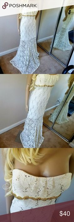 Gorgeous cream/gold strapless formal gown NWT 11 My Michelle gorgeous cream lace gold sequins strapless gown with bra grip mermaid bottom and longer slip NWT size 11 juniors My Michelle Dresses Prom