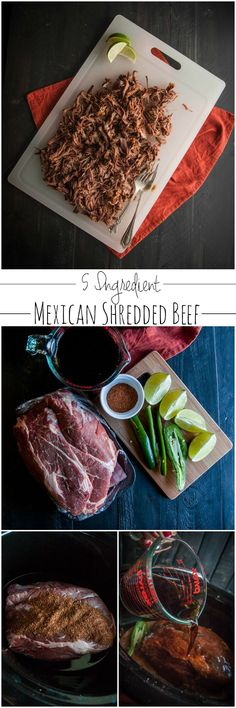 5 Ingredient crockpot Mexican shredded beef recipe from @sweetphi easy dinner idea, beef tostada recipe, 5 ingredient recipes