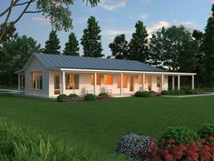 This ranch design floor plan is 2507 sq ft and has 2 bedrooms and has bathrooms. House Plans One Story, Ranch House Plans, Country House Plans, Country Farmhouse, Modern Farmhouse, Farmhouse Decor, Building Design, Building A House, L Shaped House Plans