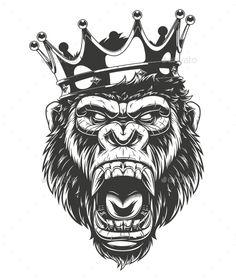 Vector illustration, ferocious gorilla head on with crown,King of monkeys, on white background Moños Tattoo, Kopf Tattoo, Lion Tattoo, Chest Tattoo, Body Art Tattoos, Sleeve Tattoos, Gas Monkey, Monkey Art, Tattoo Design Drawings