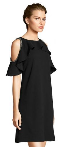 Adrianna Papell | Ruffled Swing Dress with Embellished Cold Shoulder Cutout Sleeves