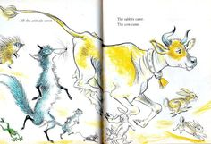 An illustrated vintage childrens book from 1966. The Wise Dog by Josephine Wright and illustrated by Lilian Obligado. Two cats named Mitty and Matty are helped by the wise dog. The hardcover book is 6.75 x 8.5 or 17.1 cm x 21.6 cm and has 48 pages of yellow, turquoise and green print