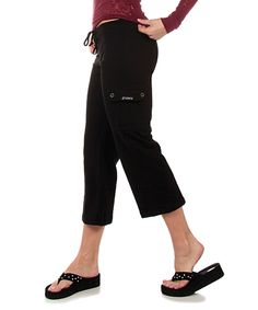 This Black Terry Cargo Capri Pants by OTOMIX is perfect! #zulilyfinds