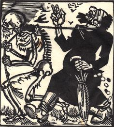 """""""Wirshing shows Death leading a spy by a rope, depicted as the obvious Jewish stereotype of the moneylender—evidence of the prevalence in German society of this anti-Semitic view."""""""