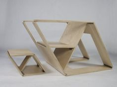 Fabulous Folding Furniture - The name of Brainstream Design is quite apropos when applied to the Folding Chair and Ottoman—the fluid nature of the design is brilliant.